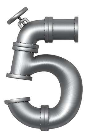 Metallic stainless alphabet. Industrial number 5 made of pipes. Added clipping path Imagens