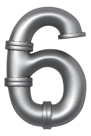Metallic stainless alphabet. Industrial number 6 made of pipes. Added clipping path Imagens