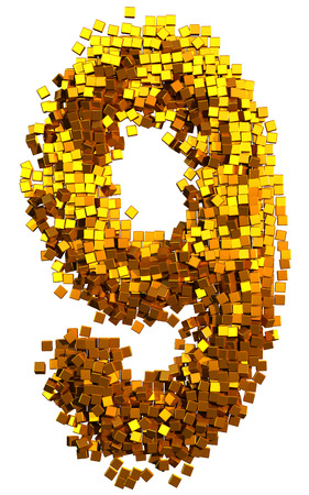Glamour Alphabet made of gold cubes. Clipping path added. Number 9