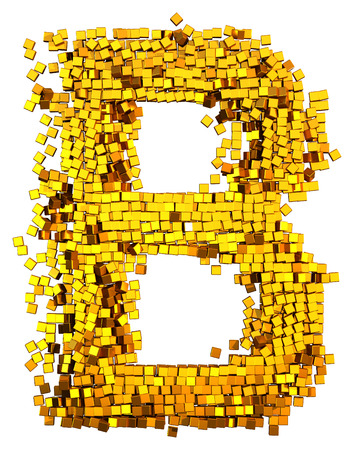 Glamour Alphabet made of gold cubes. Clipping path added. Letter B