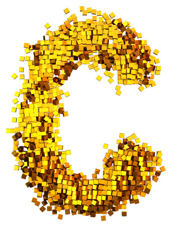 Glamour Alphabet made of gold cubes. Clipping path added. Letter C