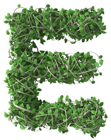 Groene alfabet gemaakt van bomen en bladeren. Seizoensgebonden zomer letter e Stockfoto