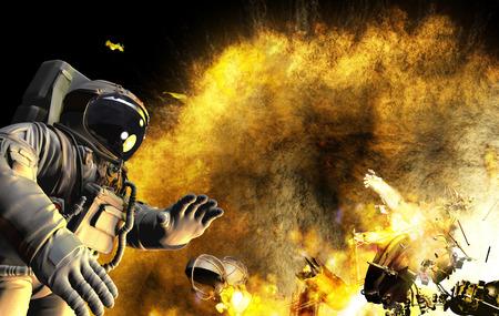 우주 비행사가 밖에서 일할 때 열린 공간에서의 사고. 우주선이나 방송국이 폭발합니다.