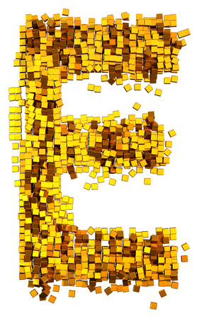 Glamour Alphabet made of gold cubes. Clipping path added. Letter E