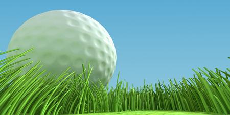 Close-up golfbal op het gras in het veld. 3d illustratie Stockfoto