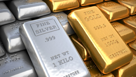 Silver ingot and  gold bullion. Finance illustration Stok Fotoğraf
