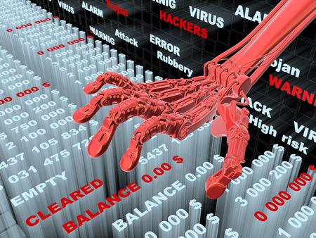 Hacking bankgegevens. Diefstal van geld van de rekening. Conceptuele 3d illustratie Stockfoto