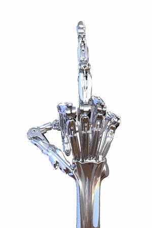 Middelvinger Sign door robot hand geïsoleerd op wit