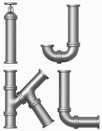 metalen pijp alfabet. Industriële letters. Stockfoto