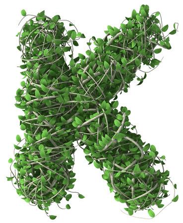 Groen alfabet gemaakt van bomen en bladeren. Seizoensgebonden zomerkop k