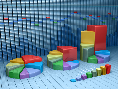Stock market data with different graphs and charts. Business 3d illustration