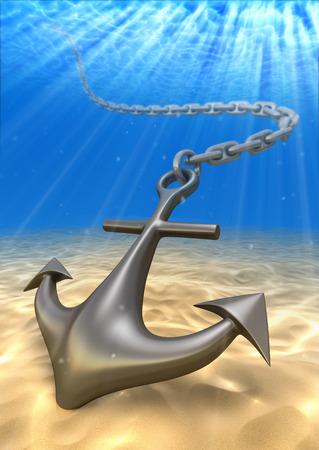 underwater anchor and volume light. Travel 3d illustration