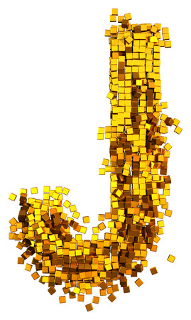Glamour Alphabet made of gold cubes. Clipping path added. Letter J
