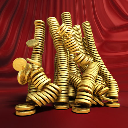 Falling gold money. Conceptual business 3d illustration Imagens