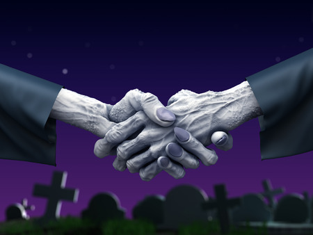 Zombie handshake at cemetery. Fantasy horror 3d illustration
