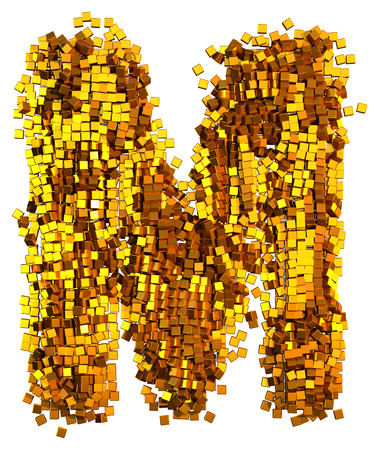 Glamour Alphabet made of gold cubes. Letter M Imagens