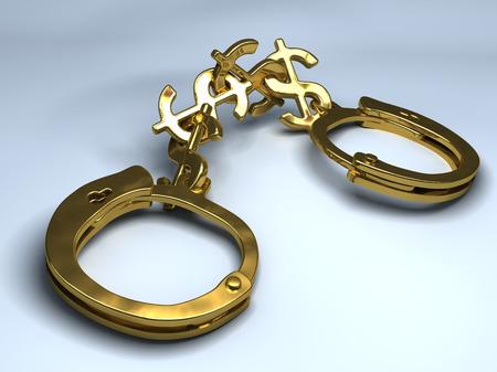 handboeien met ketting gemaakt van dollartekens. conceptuele illustratie Stockfoto