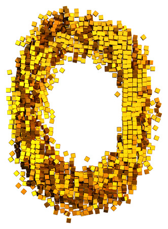 Glamour Alphabet made of gold cubes. Clipping path added. Letter O