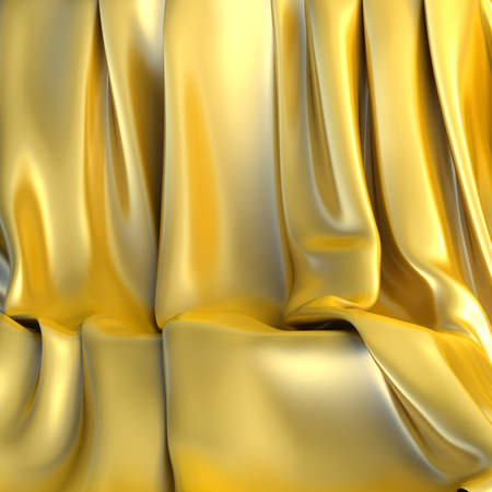 Empty background made of golden cloth for a still-life. 3d illustration