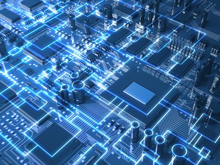 Fantasie-Leiterplatte oder Mainboard mit Mikrochips und Prozessoren. Technologie 3d illustration Standard-Bild - 37202513