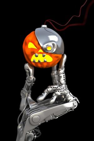 로봇 할로윈 호박. 기술 3D 그림