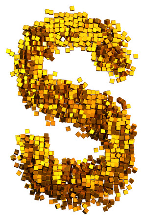 Glamour Alphabet made of gold cubes. Letter S