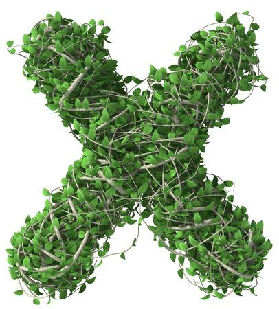 Groene alfabet gemaakt van bomen en bladeren. Seizoensgebonden zomer letter x