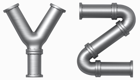 Metal stainless pipes alphabet. Industrial letters. Added clipping path Imagens