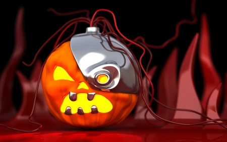 Robotic Halloween pumpkin. Technology horror 3d illustration