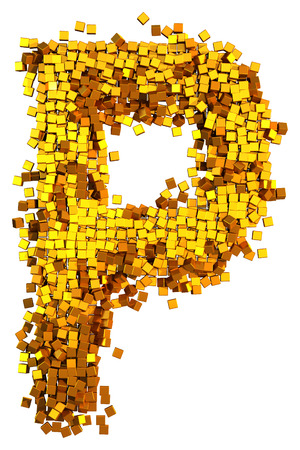 Glamour Alphabet made of gold cubes. Letter P