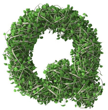 Green alphabet made of trees and leafs. Seasonal summer letter Q Imagens
