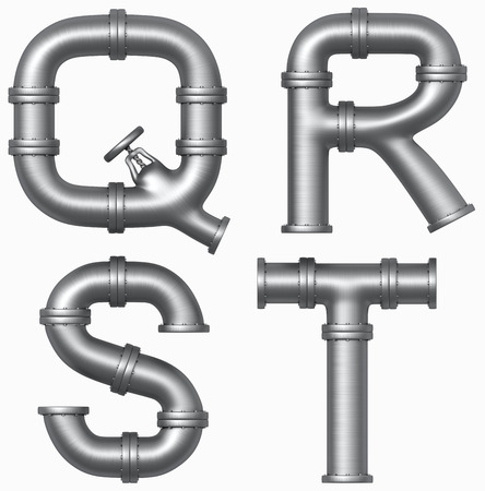 Metal stainless pipe alphabet. Industrial letters. Added clipping path