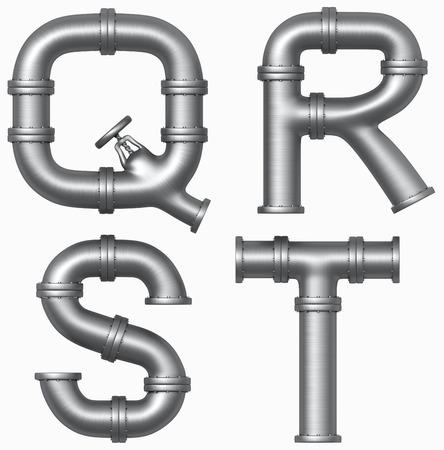 Metaal roestvrij pijp alfabet. Industriële letters. Toegevoegd knippen weg Stockfoto