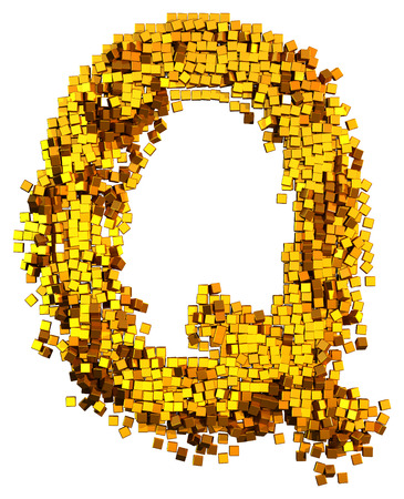 Glamour Alphabet made of gold cubes. Clipping path added. Letter Q