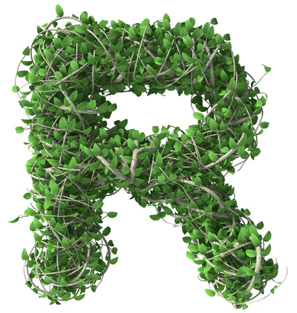 Green alphabet made of trees and leafs. Seasonal summer letter R