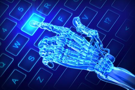 Robot works on keyboard. Futuristic 3d illustration