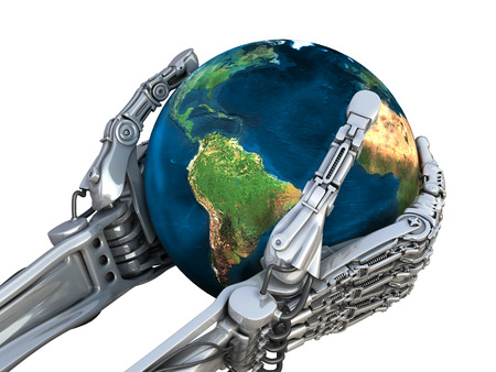 Robot houdt de bol van de aarde. Planeet in handen bij hoogwaardige technologie. Conceptuele 3d illustratie