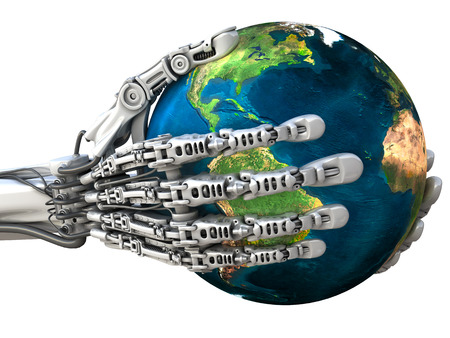 Robot keeps the Earth globe. Planet in hands at high technology. Conceptual 3d illustration Imagens