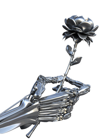 Robot keeps metallic flower. Artifical Intelligence and human feelings. Conceptual High technology 3d illustration