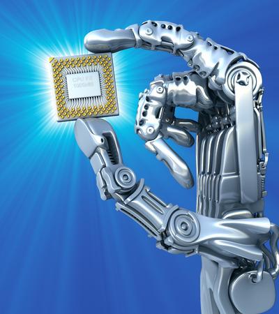 Robot mantiene chip fantasía o procesador. Alta tecnología 3d ilustración