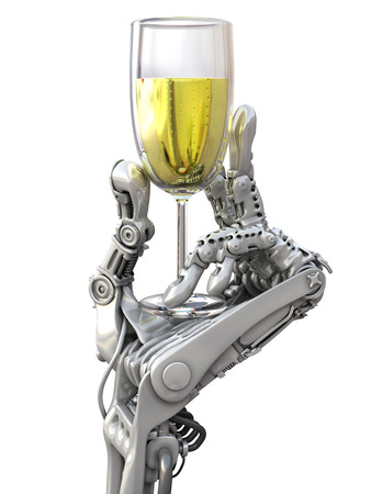 Robot holding a glass of wine. Holiday Technology 3d illustration 写真素材