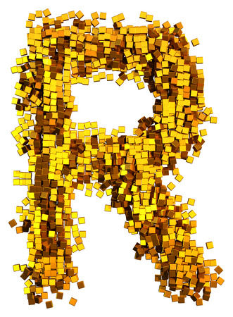 Glamour Alphabet made of gold cubes. Clipping path added. Letter R