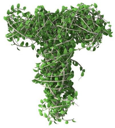 Groene alfabet gemaakt van bomen en bladeren. Seizoensgebonden zomer letter T Stockfoto