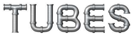 Word Tubes made of Metallic stainless pipes. Industrial letters