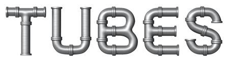 Word Tubes gemaakt van metalen roestvrij leidingen. Industrial letters