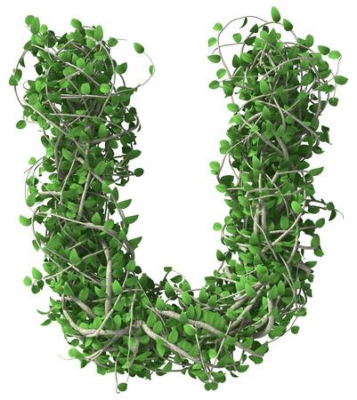 Groene alfabet gemaakt van bomen en bladeren. Seizoensgebonden zomer letter U