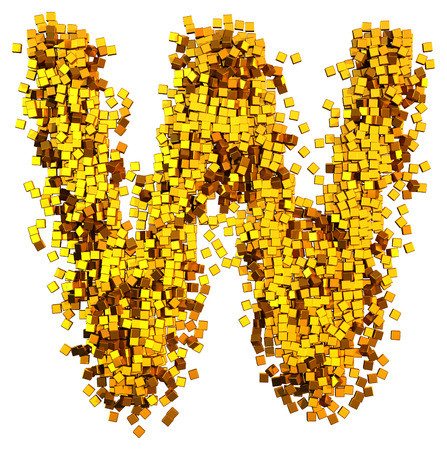Glamour Alphabet made of gold cubes. Letter w