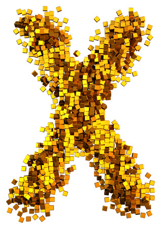 Glamour Alphabet made of gold cubes.  Letter X