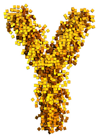 Glamour Alphabet made of gold cubes.  Letter y
