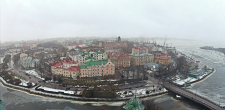 Panoramic View of the historic city of Vyborg from St. Olav tower. Russia. Imagens